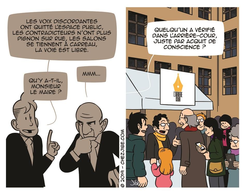 Bande dessinée de Jibé pour L'Arrière-Cour